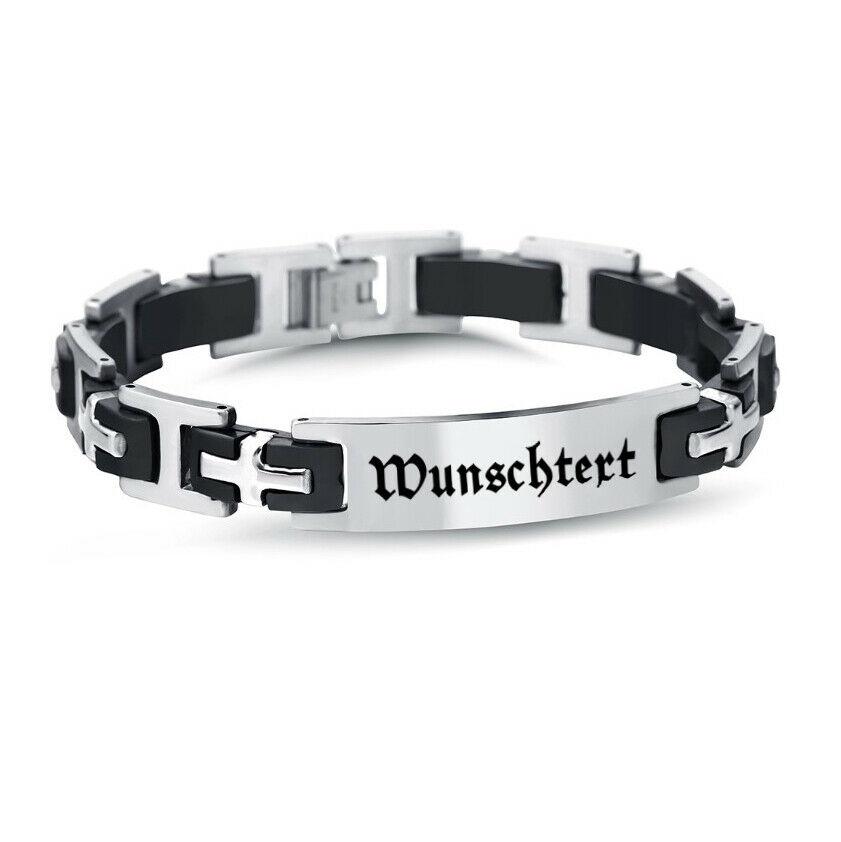 Edelstahl-Armband mit Wunschbeschriftung - Herren Armband mit Gravur