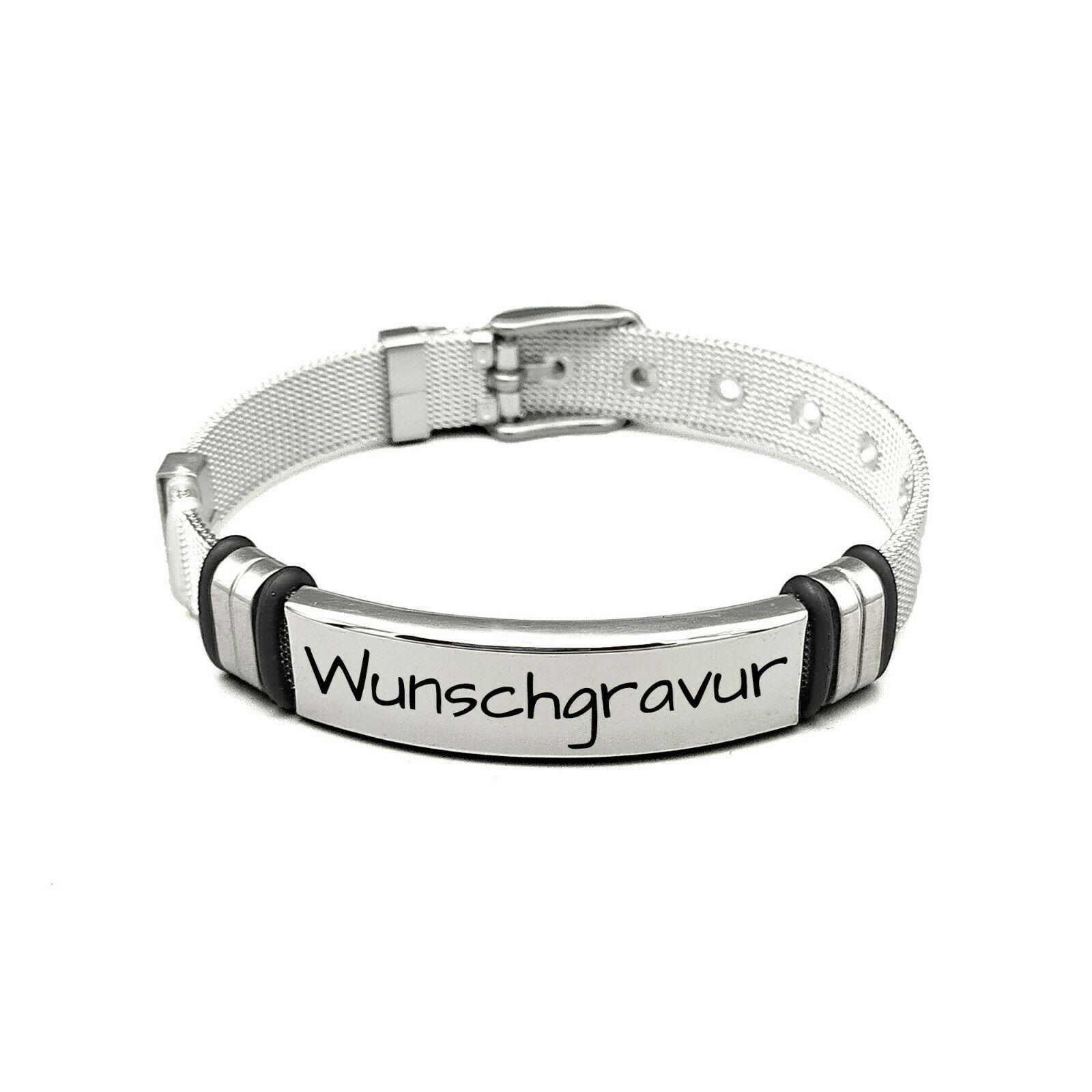 Armband aus Edelstahl - mit Gravur - personalisiert - größenverstellbar